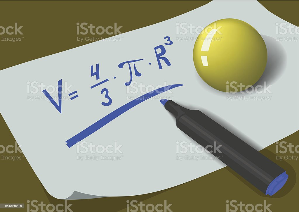 Ball and marker on the sheet of paper royalty-free stock vector art