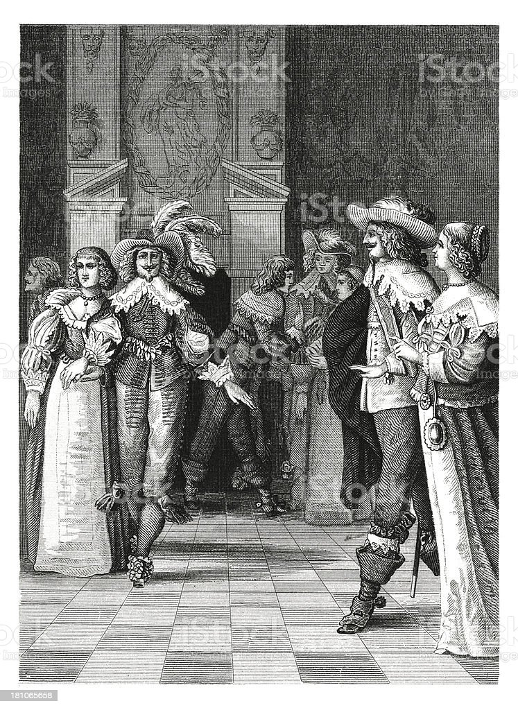 Ball in XVII century (antique wood engraving) royalty-free stock vector art