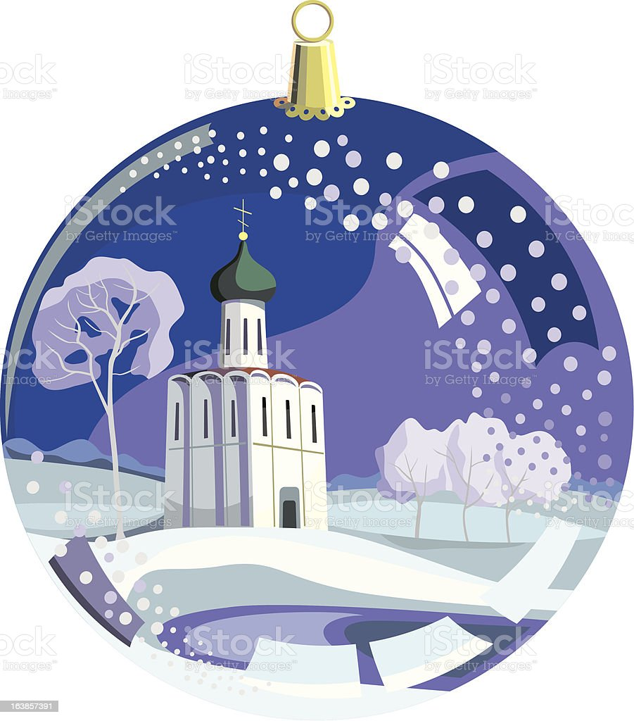 ball with temple on fir tree in cristmas royalty-free stock vector art