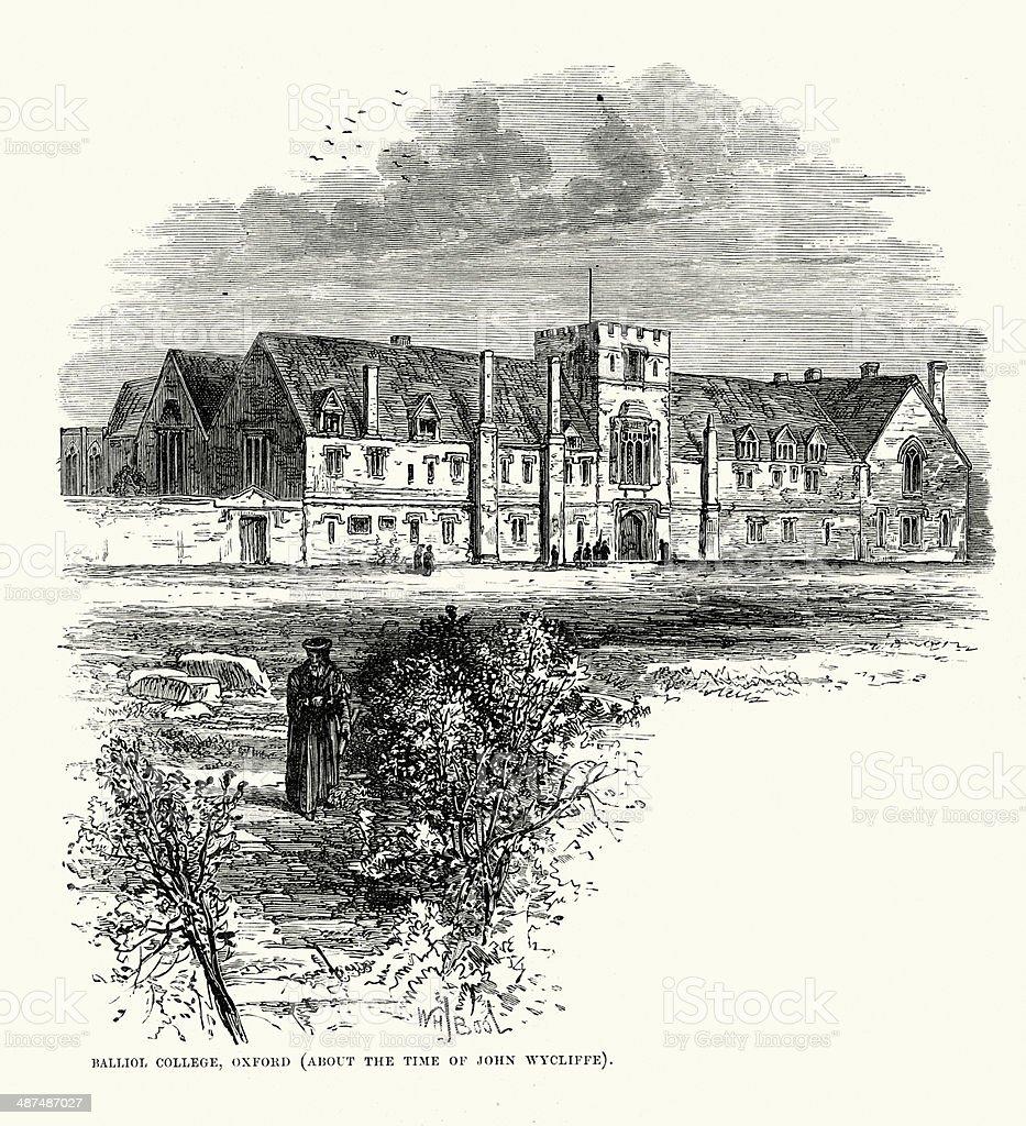 Balliol College, Oxford vector art illustration