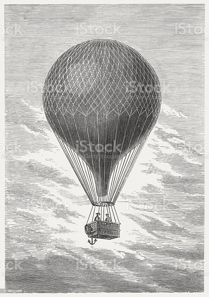 Ballooning in the past, wood engraving, published in 1880 vector art illustration