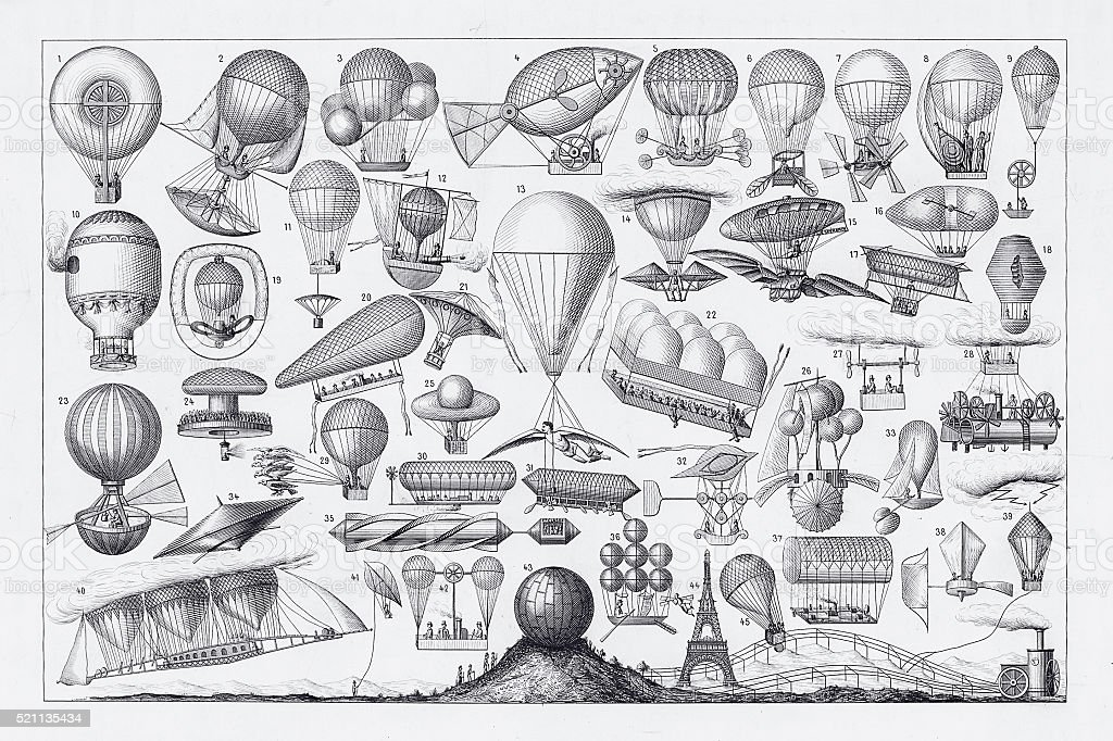 Balloons, Airships and Flying Machines Engraving from 18th Century France vector art illustration