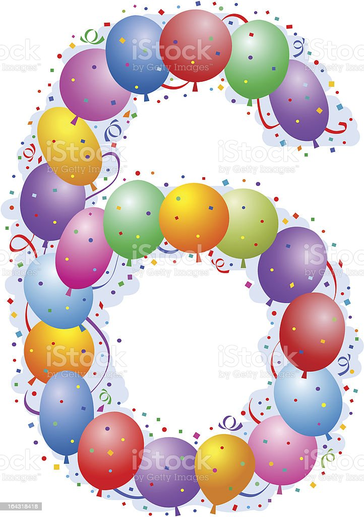 Balloons and confetti - Number six royalty-free stock vector art