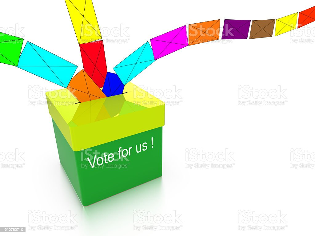 Ballot box with colored votes flying in vector art illustration