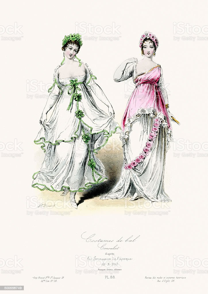 Ballroom Costumes early 19th Century vector art illustration