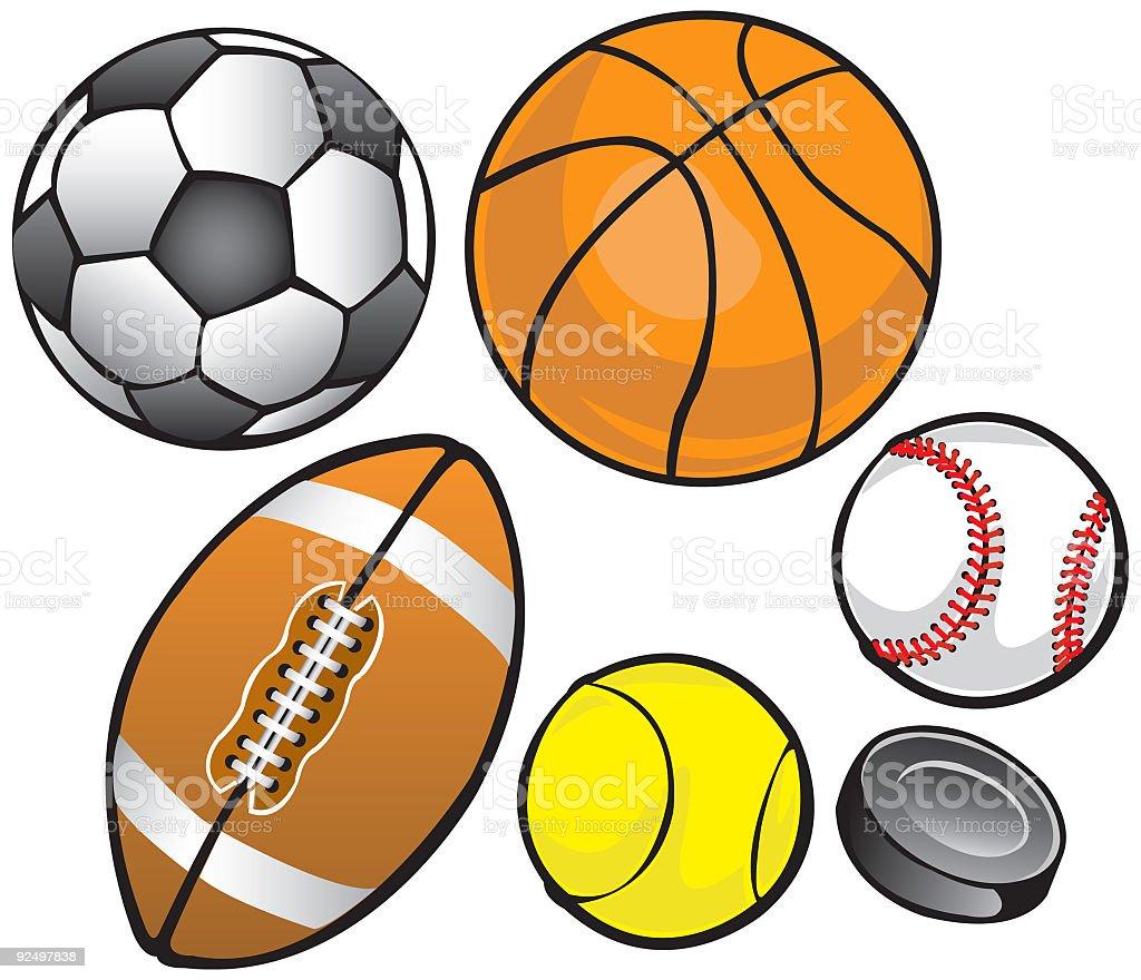 Balls & Puck (vector) vector art illustration