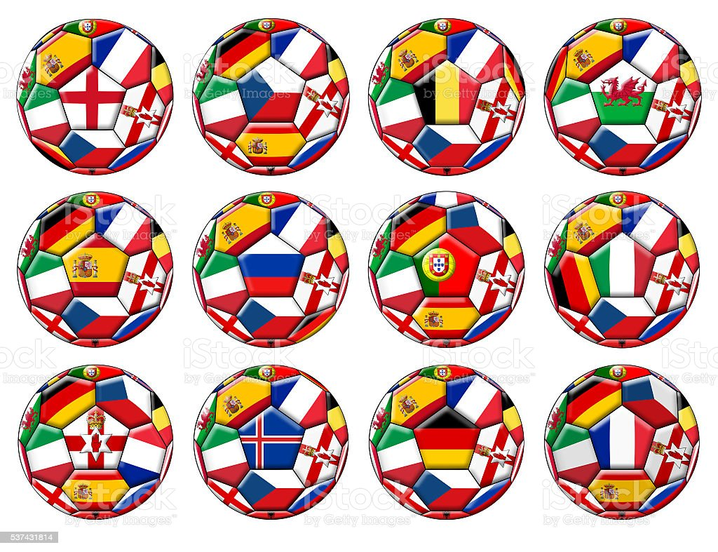 Balls with various flags vector art illustration