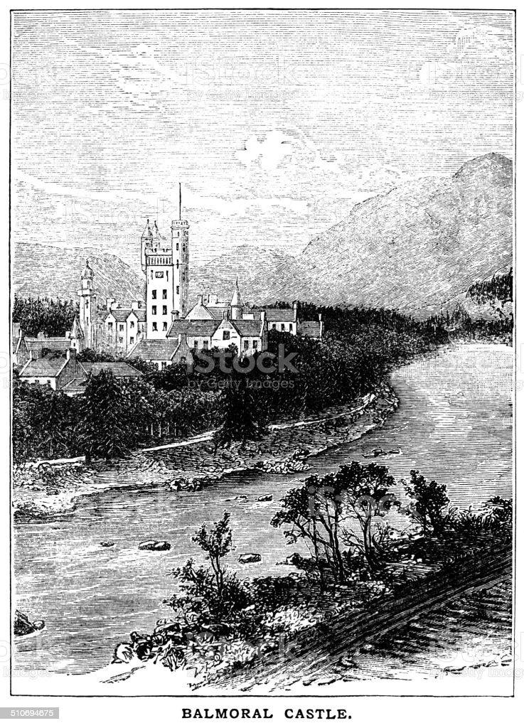 Balmoral Castle (Victorian engraving) vector art illustration