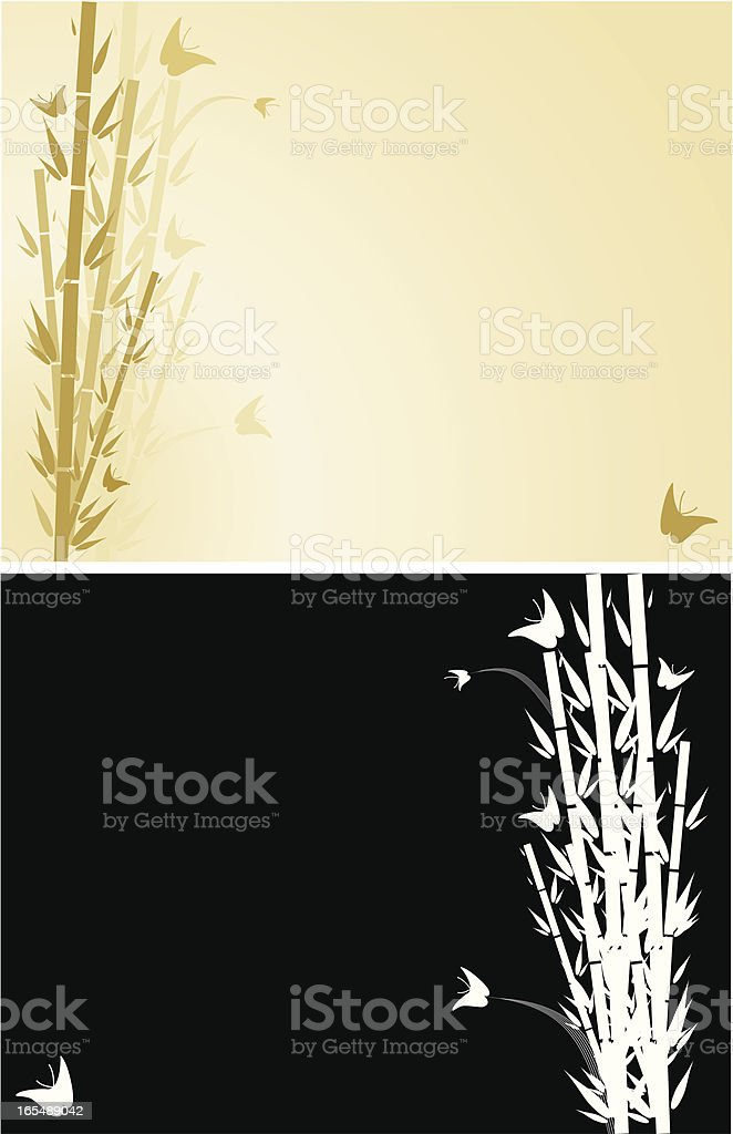 Bamboo and Butterflies Background royalty-free stock vector art