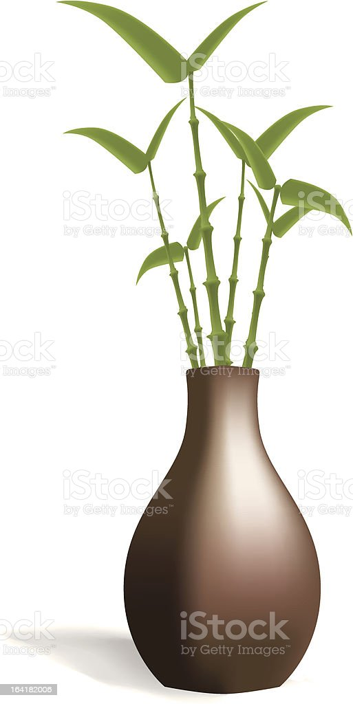 Bamboo in Brown Vase royalty-free stock vector art