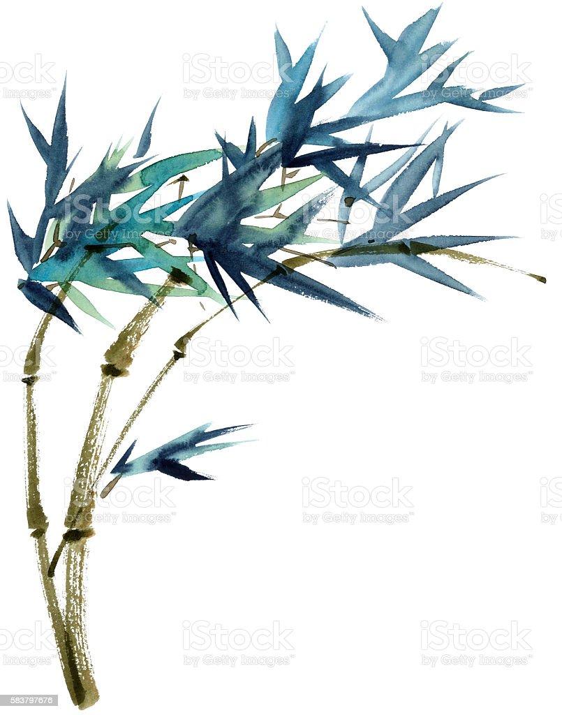 Bamboo watercolor illustration vector art illustration