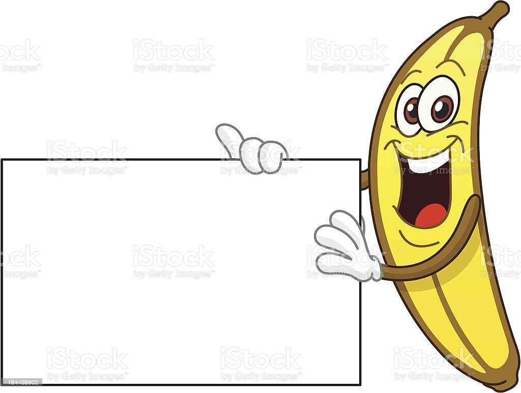 Banana holding a sign vector art illustration