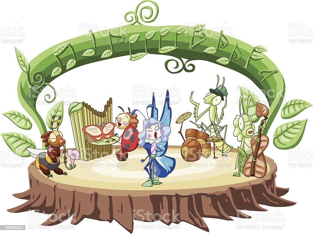 Band of Insects playing instruments royalty-free stock vector art