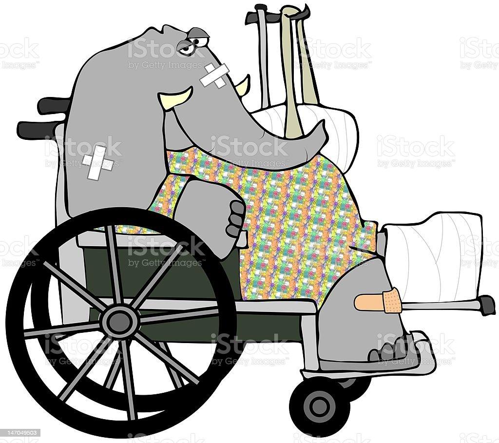 Banged Up Elephant vector art illustration