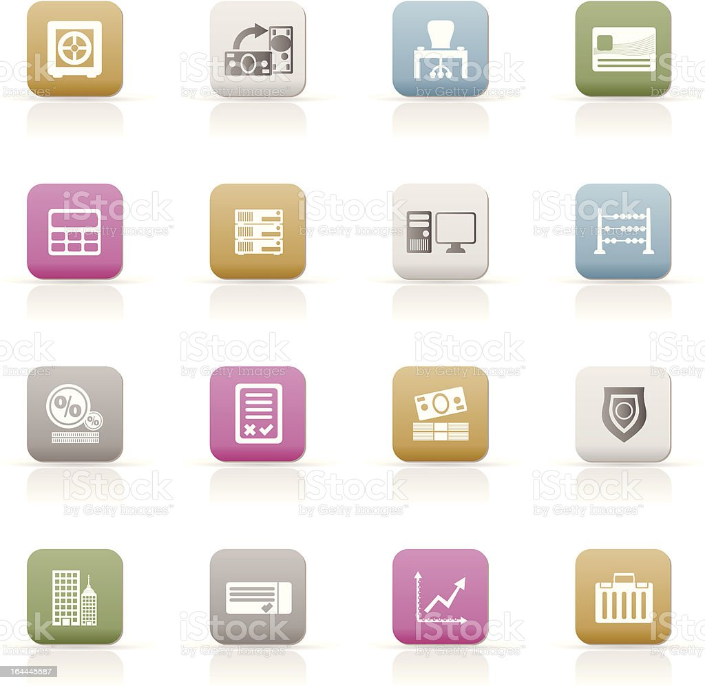 bank, business, finance and office icons royalty-free stock vector art