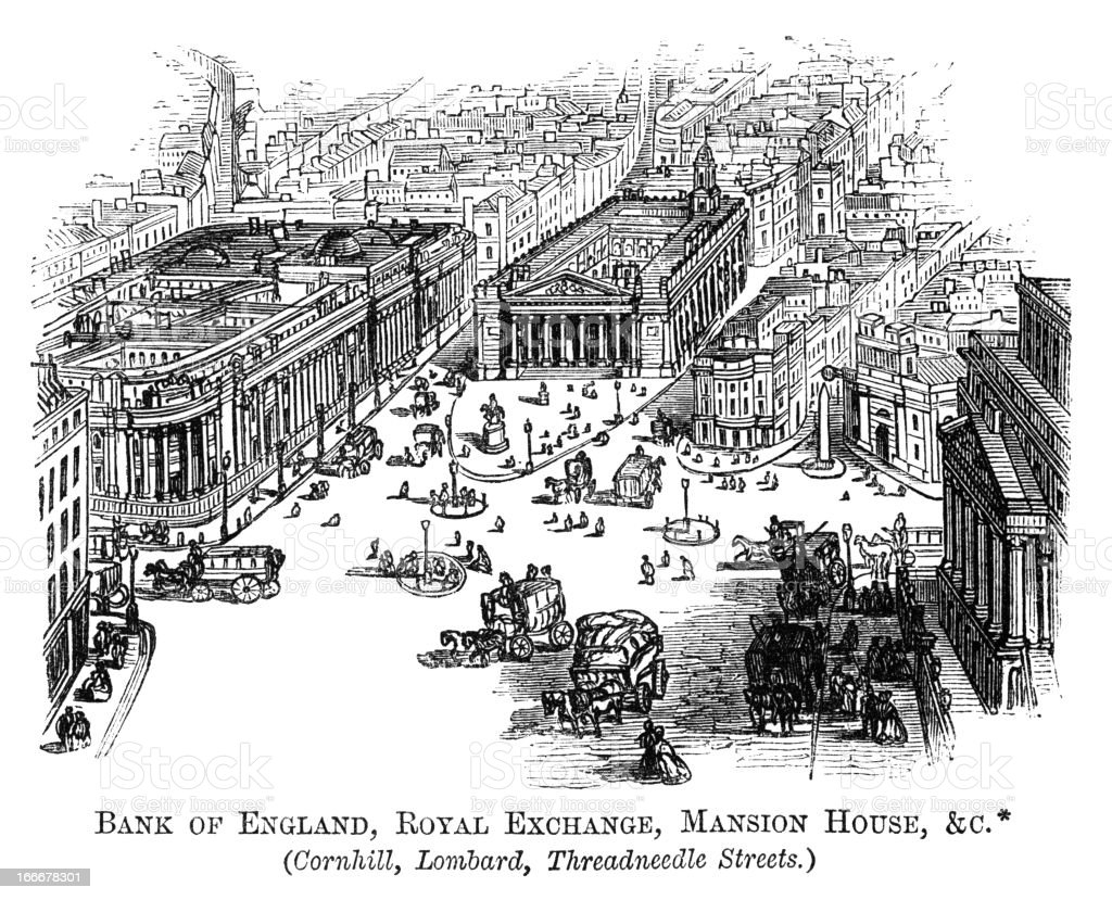 Bank of England, Royal Exchange and Mansion House (1871 engraving) vector art illustration