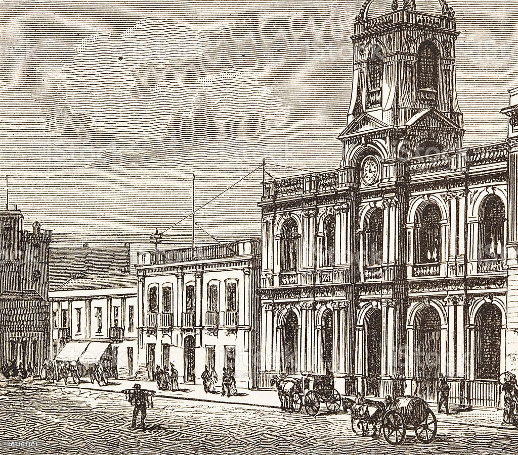 Bank of Province Buenos Aires engraving from 1882 vector art illustration