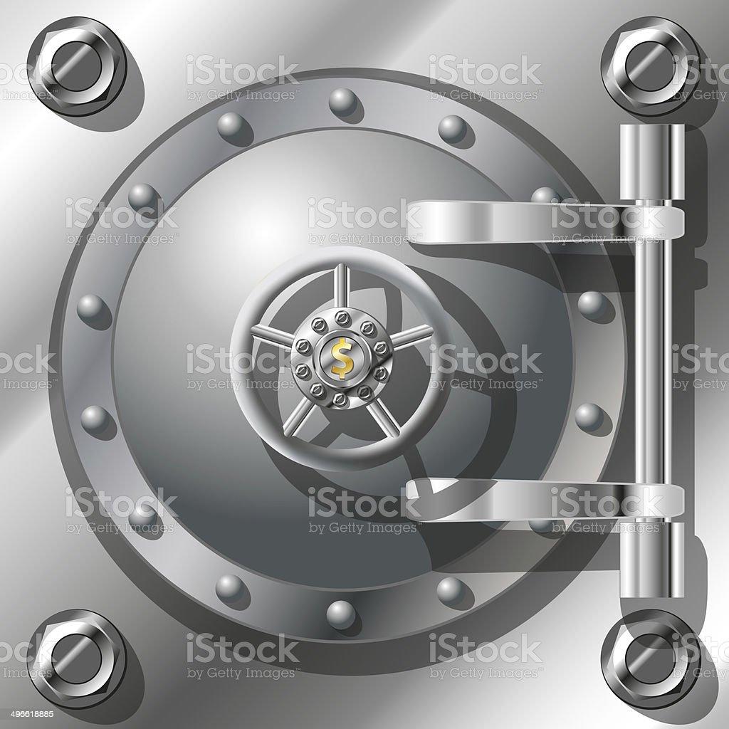 Bank Vault Door vector art illustration