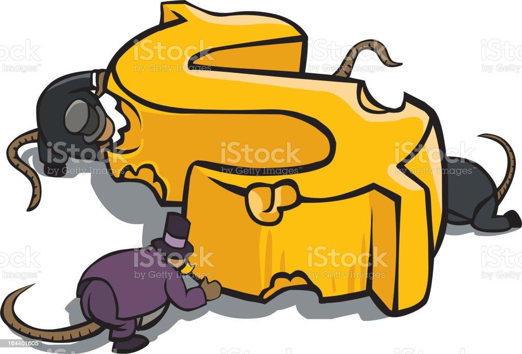 Bankers eat chesse dollar vector art illustration