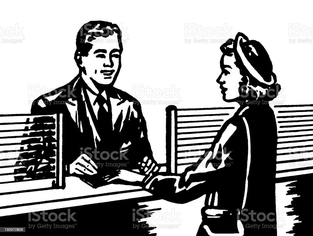 Banking Transaction vector art illustration