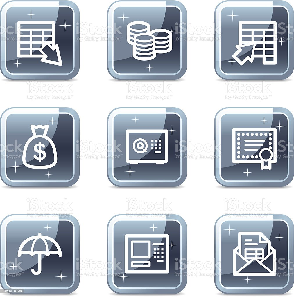 Banking web icons, square blue mineral buttons series royalty-free stock vector art
