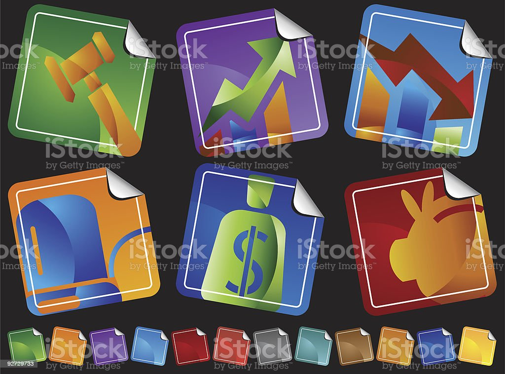 Banking Zoom Icons royalty-free stock vector art