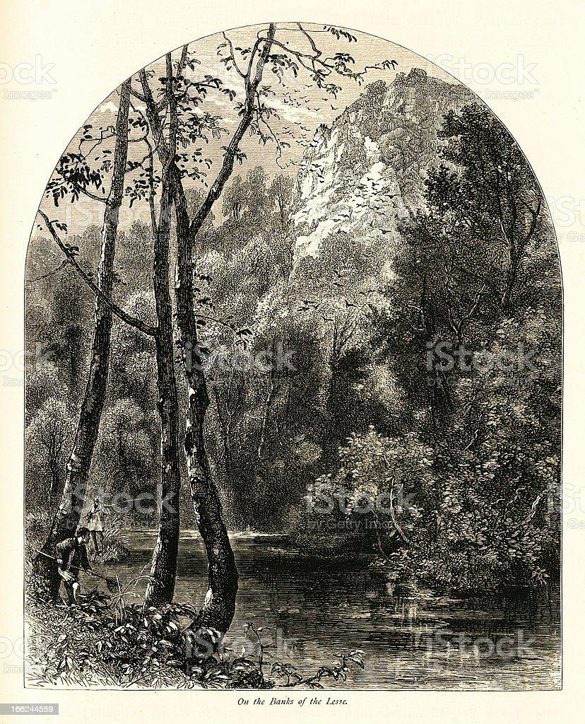 Banks of the Lesse River, Belgium (antique wood engraving) vector art illustration