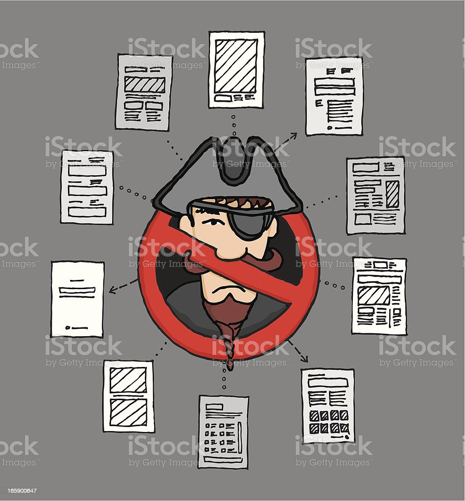 Banned digital piracy / Sopa law royalty-free stock vector art