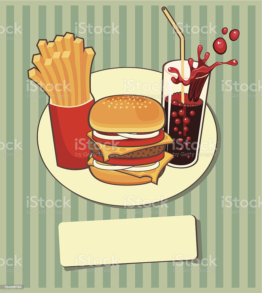 banner with fast food vector art illustration