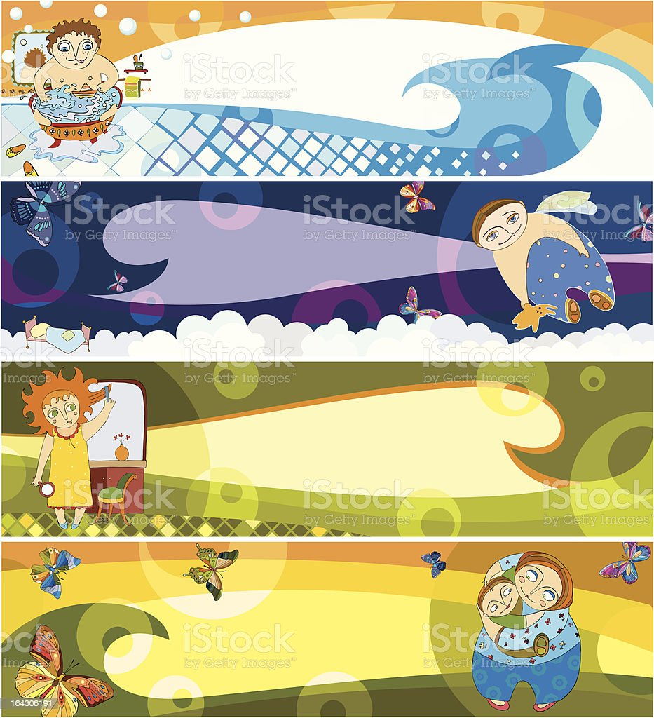 banners with childrens royalty-free stock vector art