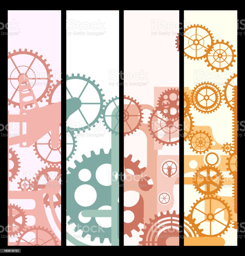 Banners with gears royalty-free stock vector art