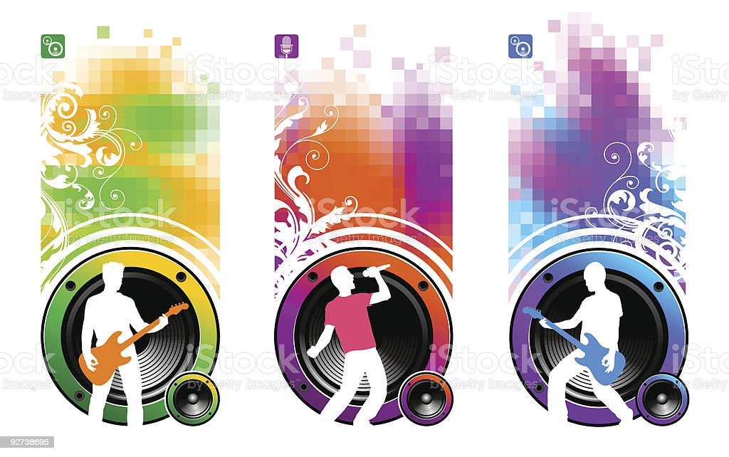 Banners with loudspeakers & silhouettes of musicians royalty-free stock vector art