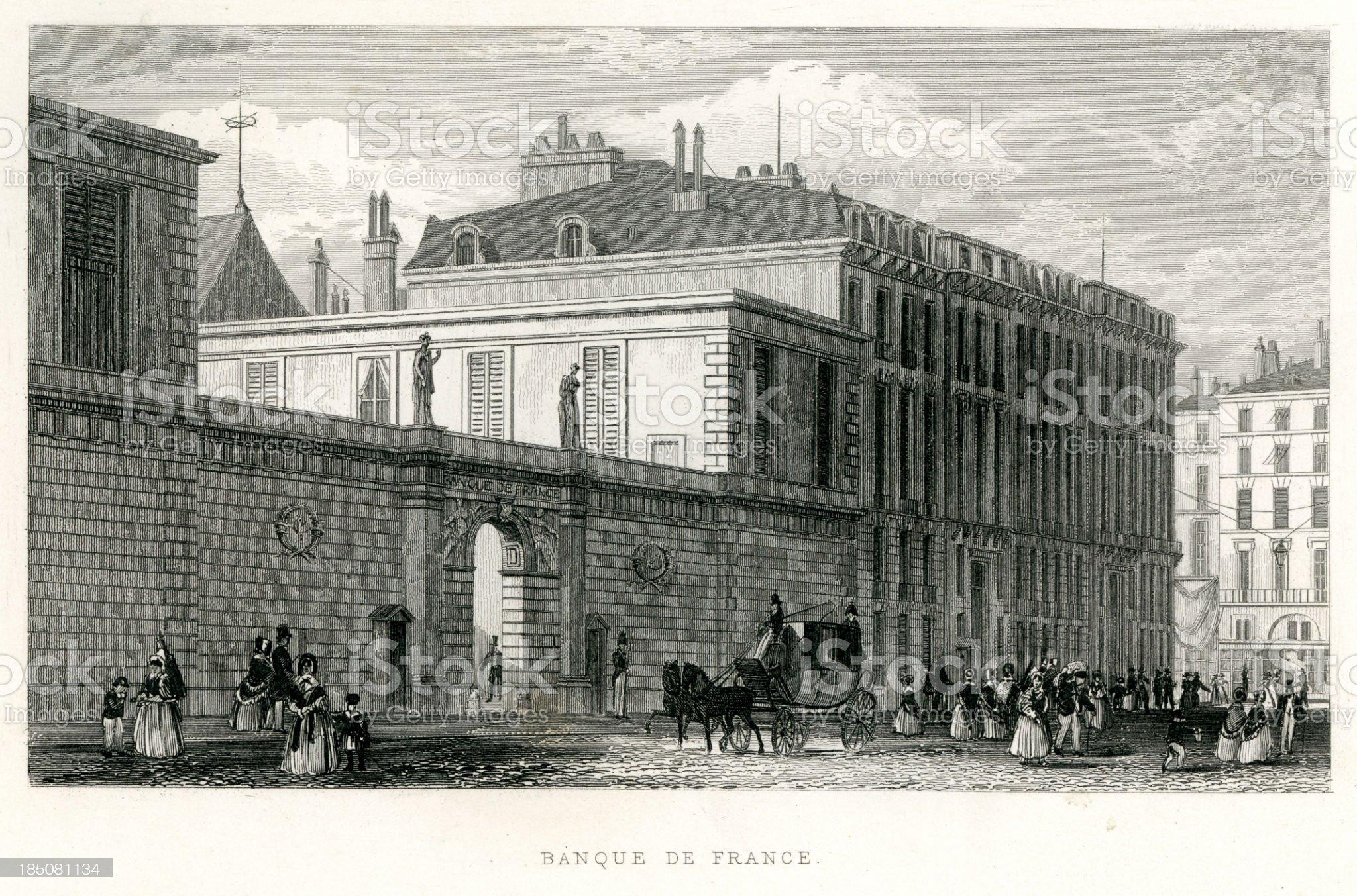 Banque de France, Paris royalty-free stock vector art