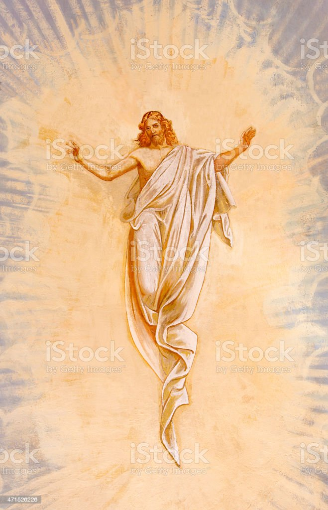 Banska Stiavnica - The Resurrected Christ fresco vector art illustration