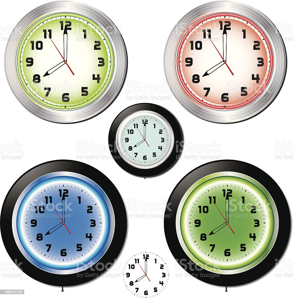 Bar Clocks vector art illustration