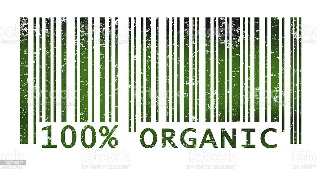 Bar code indicating organic products vector art illustration