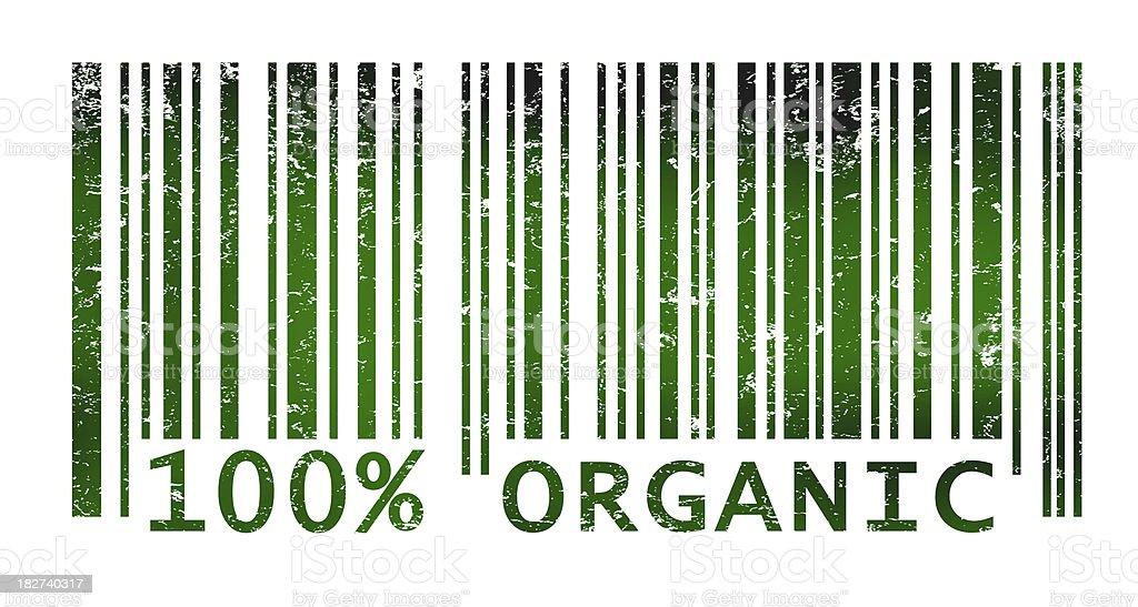 Bar code indicating organic products vector art illustration