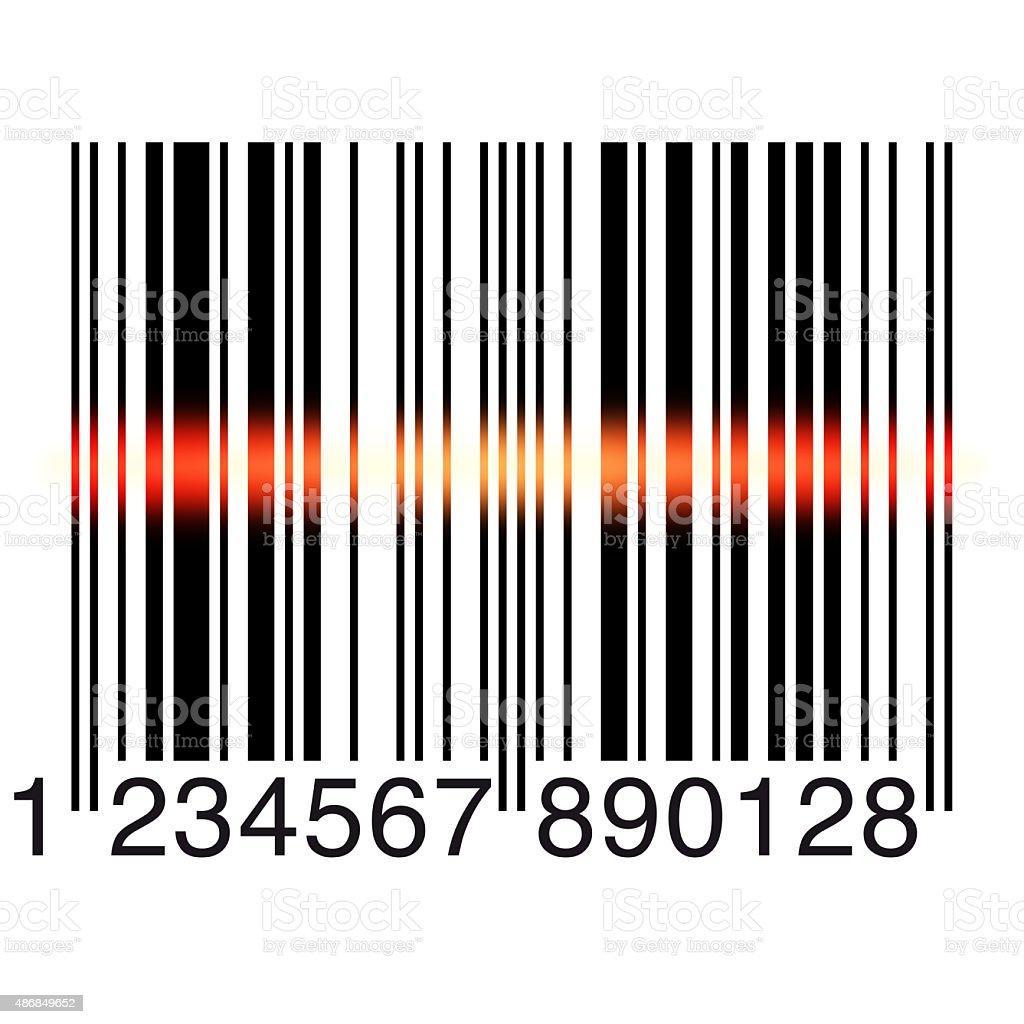 Bar code scanning on white vector art illustration