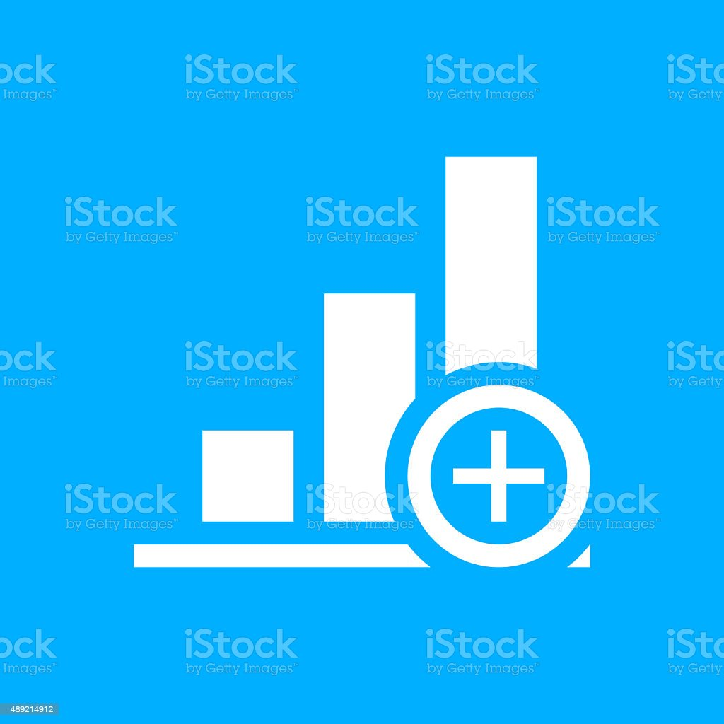 Bar Graph icon on a blue background. vector art illustration