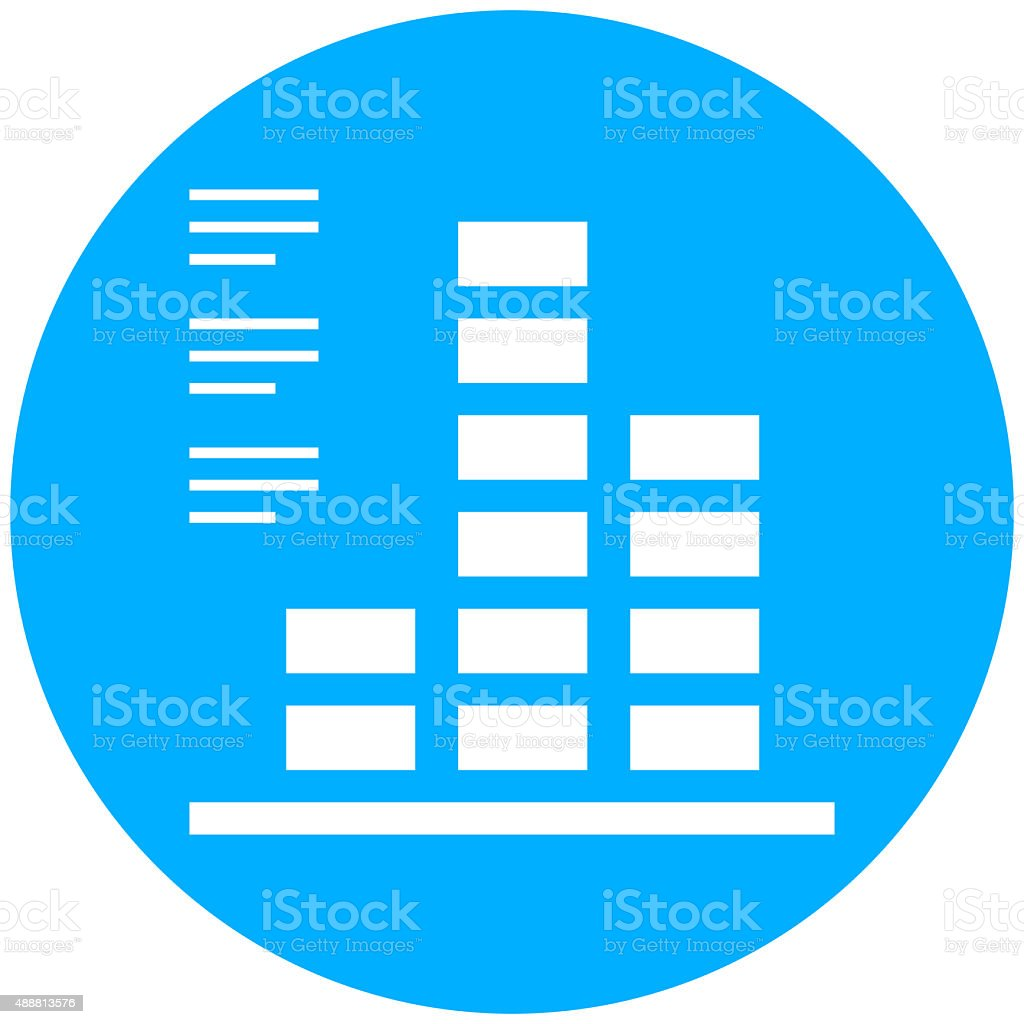 Bar Graph icon on a round button. vector art illustration