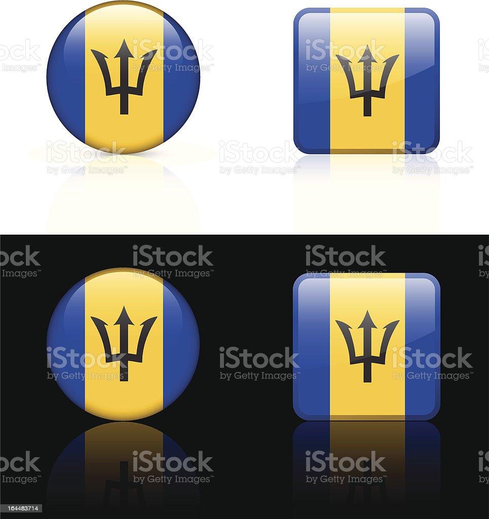 Barbados Flag Button Set royalty-free stock vector art