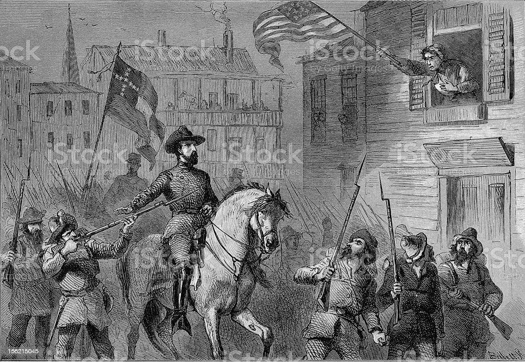 Barbara Frietchie's Defiance -  General Stonewall Jackson Civil War royalty-free stock vector art