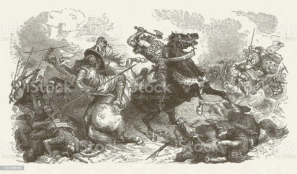 Barbarian migration, fight scene, c.6th century, wood engraving, published 1881 vector art illustration