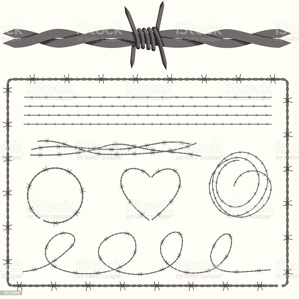 Barbed Wire Design Set royalty-free stock vector art