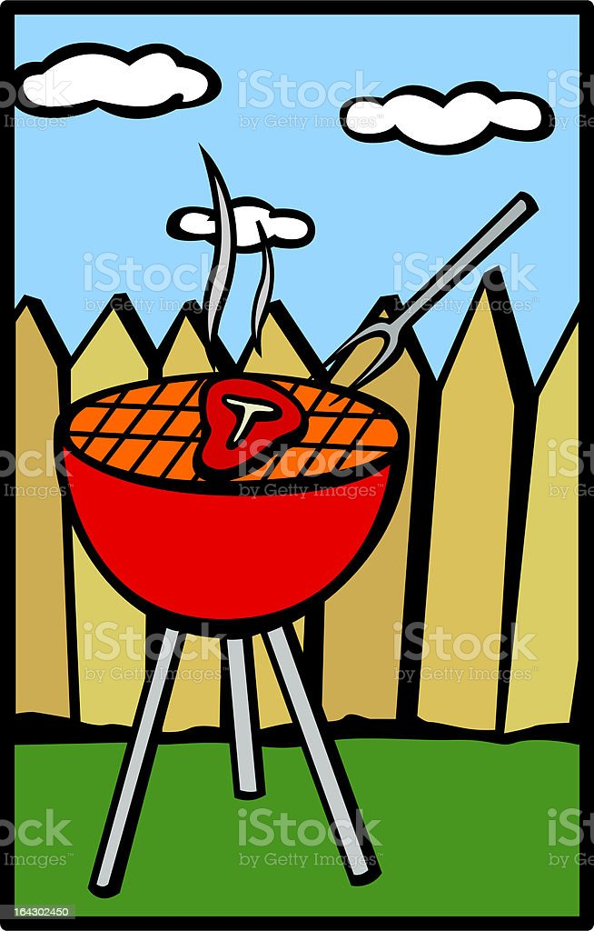 barbeque in the backyard vector art illustration