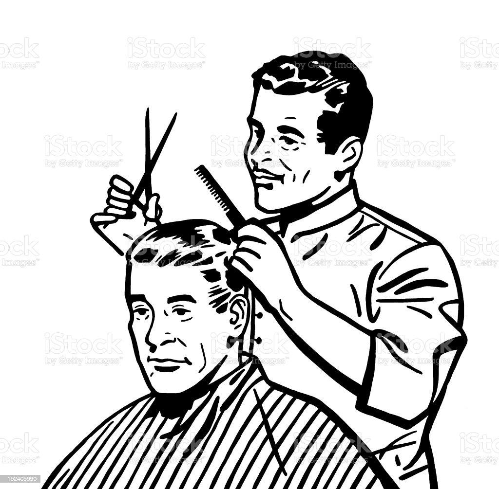 Barber Giving Haircut royalty-free stock vector art