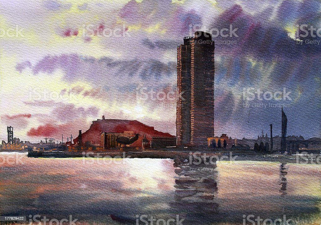 Barcelona cityscape royalty-free stock vector art