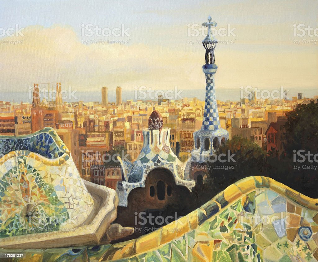 Barcelona Park Guell royalty-free stock vector art