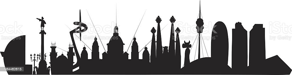 Barcelona Skyline royalty-free stock vector art