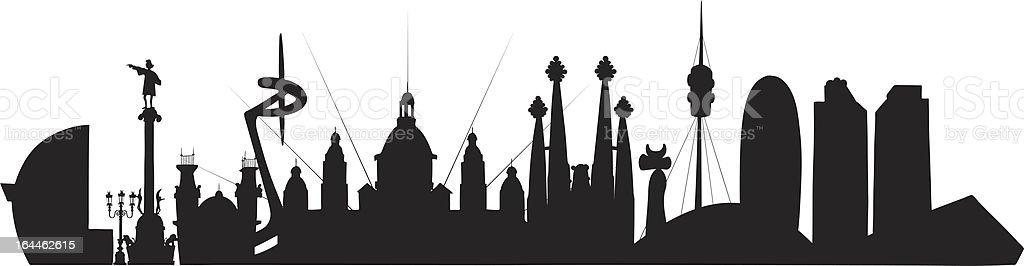 Barcelona Skyline vector art illustration